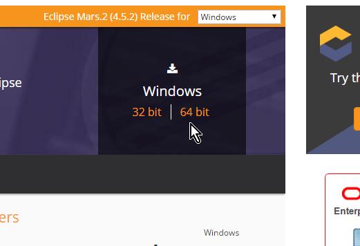 Selecciona tu arquitectura 32 bit o 64 bit en cómo descargar e instalar Eclipse IDE