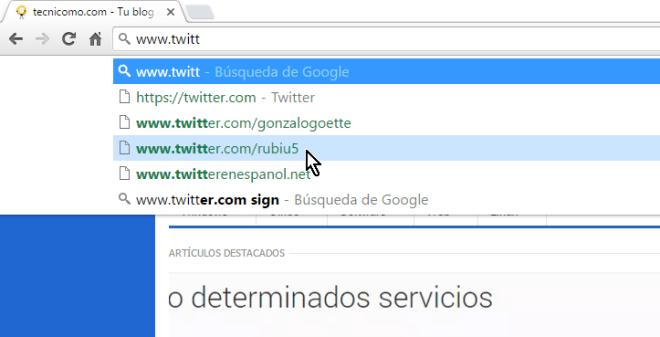 Lista inicial de sugerencias en cómo eliminar una sugerencia de la barra de direcciones de Google Chrome