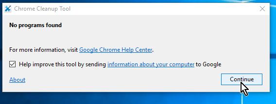 Botón Continue para completar la limpieza en cómo limpiar Google Chrome de software malintencionado