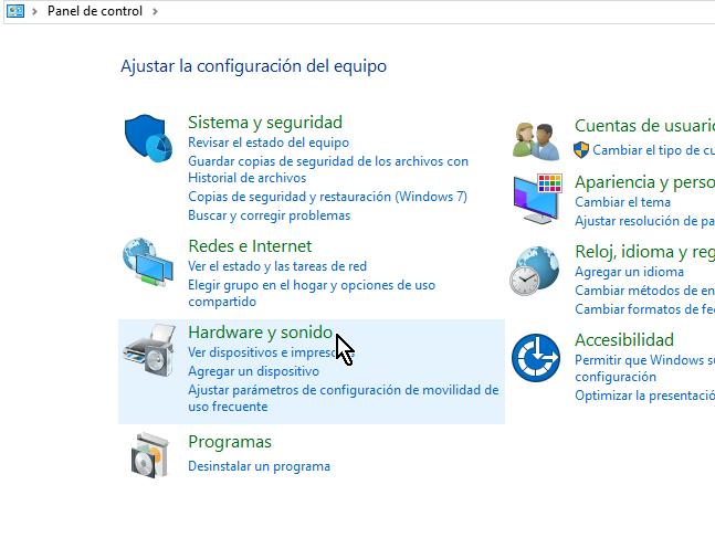 Categoría Hardware y sonido en cómo acceder el Administrador de dispositivos en Windows 10