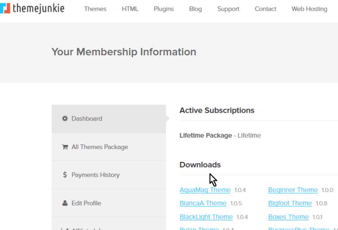 Sección Downloads con los archivos para descargar en cómo descargar y usar el tema FreshLife de WordPress