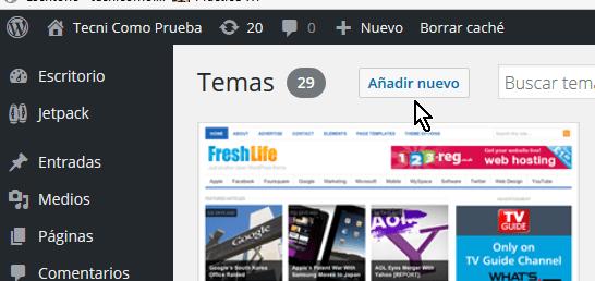 Botón Añadir Nuevo en cómo instalar un tema de WordPress desde un archivo zip