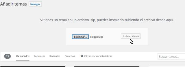 Botón Instalar ahora en cómo instalar un tema de WordPress desde un archivo zip