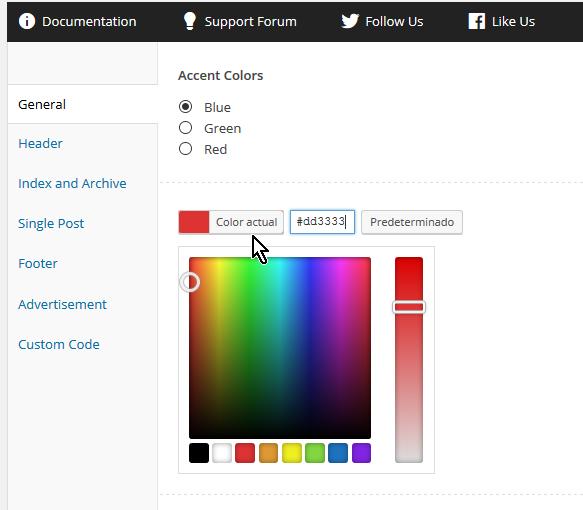 Paleta de colores de WordPress en cómo personalizar las opciones generales del tema FreshLife de WordPress