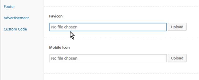 Caja de texto para indicar el favicon en cómo personalizar las opciones generales del tema FreshLife de WordPress