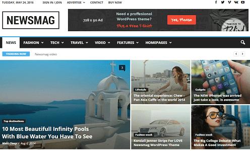 Plantilla o tema NewsMag en lista de excelentes temas de WordPress para blogs