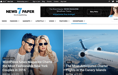 Plantilla o tema NewsPaper en lista de excelentes temas de WordPress para blogs