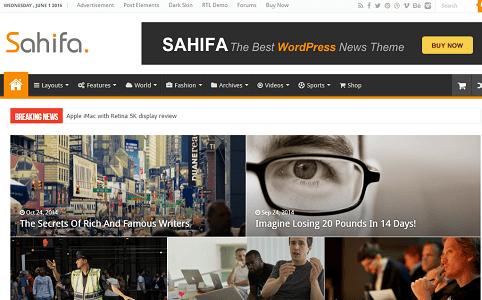 Plantilla o tema Sahifa en lista de excelentes temas de WordPress para blogs