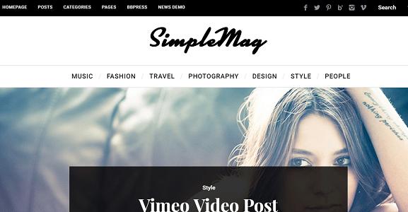 Plantilla o tema SimpleMag en lista de excelentes temas de WordPress para blogs