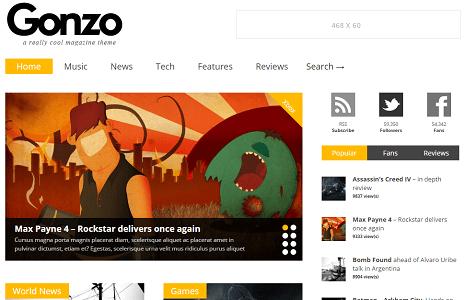 Plantilla o tema Gonzo en lista de excelentes temas de WordPress para blogs