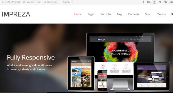 Plantilla Impreza en temas premium de WordPress disponibles en español