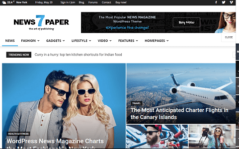 Plantilla NewsPaper en temas premium de WordPress disponibles en español