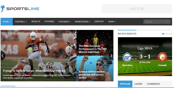 Plantilla Sportsline en temas premium de WordPress disponibles en español