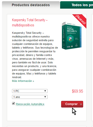 Botón para comprar el antivirus Kaspersky Total Security multidispositivos
