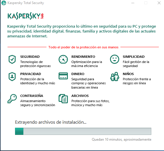 Barra de progreso de la instalación del antivirus Kaspersky Total Security multidispositivos
