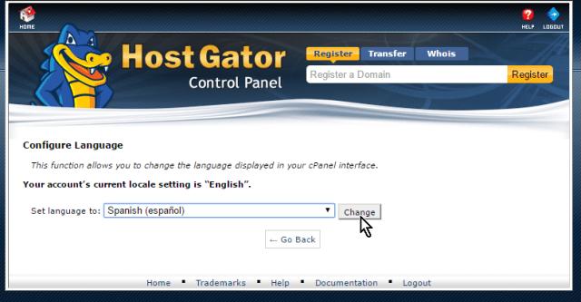 Botón Change en cómo cambiar el idioma del cPanel de HostGator a español