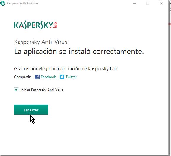 Botón Finalizar en cómo descargar e instalar Kaspersky Antivirus 2016
