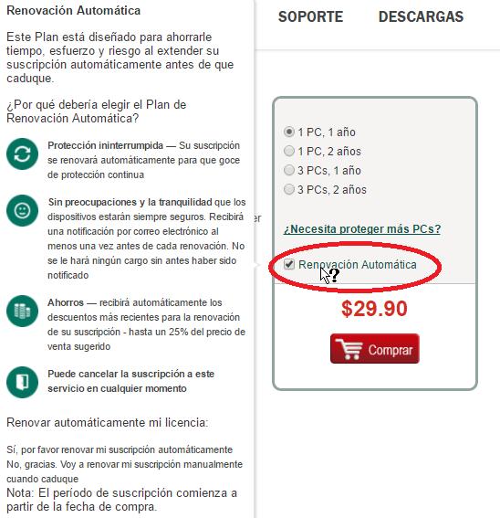 Casilla para renovación automática del antivirus en cómo descargar e instalar Kaspersky Antivirus 2016