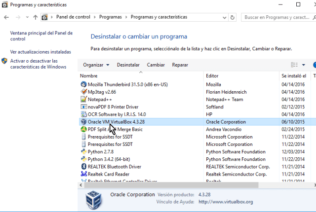 Selecciona el programa Oracle VM VirtualBox X.X en cómo desinstalar VirtualBox en Windows 10