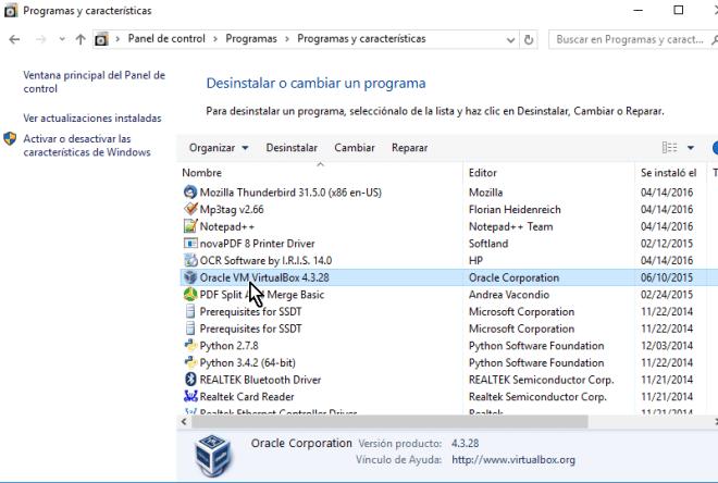 Selecciona el programa Oracle VM VirtualBox X.X en cómo desinstalar VirtualBox en Windows 10
