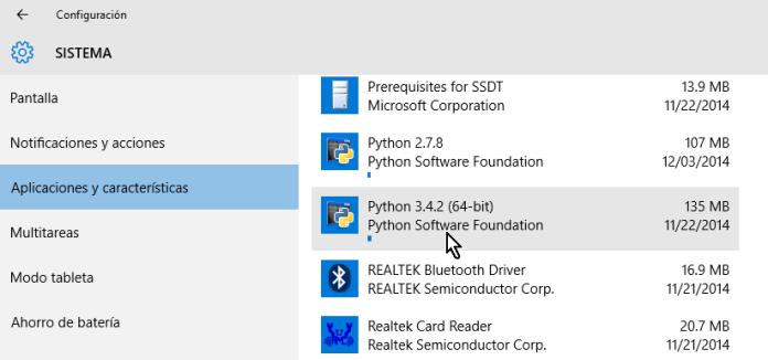 Buscando el programa desde Sistema en cómo desinstalar un programa en Windows 10