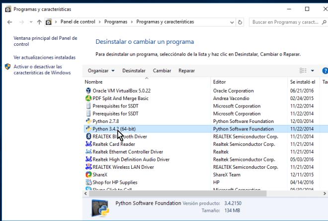 Lista de programas instalados en cómo desinstalar un programa en Windows 10