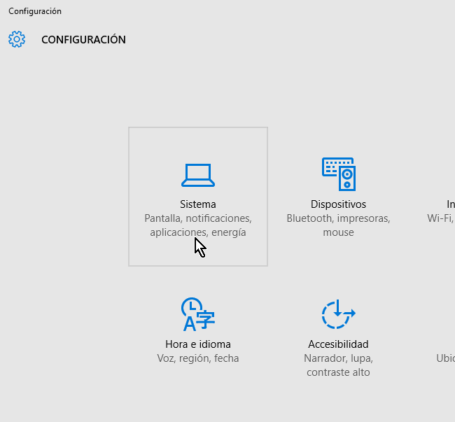 Categoría Sistema de la Configuración en cómo desinstalar un programa en Windows 10