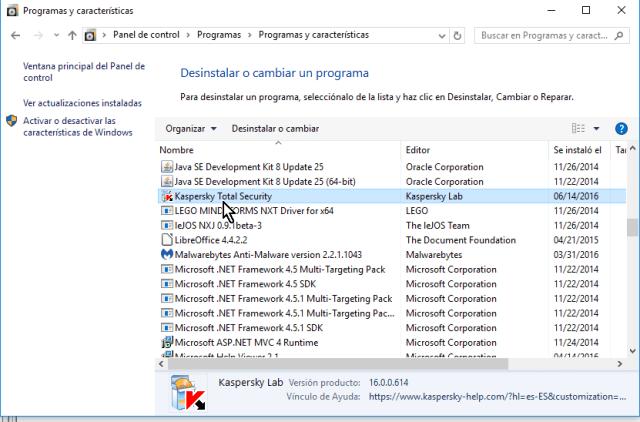 Busca en la lista de aplicaciones Kaspersky Total Security en cómo eliminar el antivirus Kaspersky Total Security multidispositivos