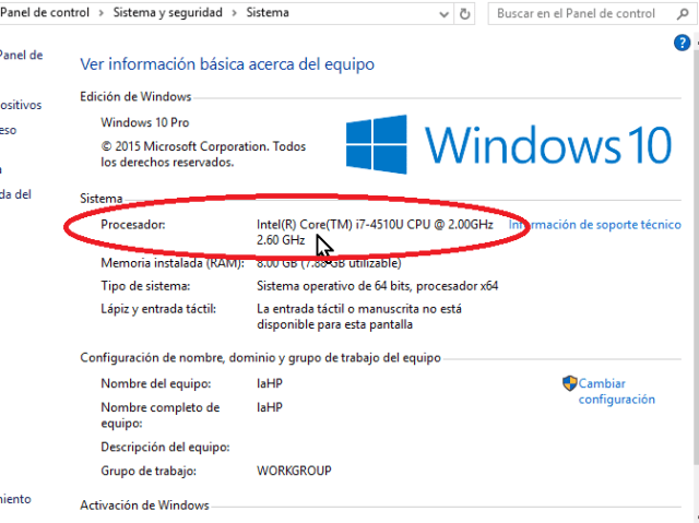 Detalles del procesador en cómo habilitar VirtualBox 64 bits en Windows 10