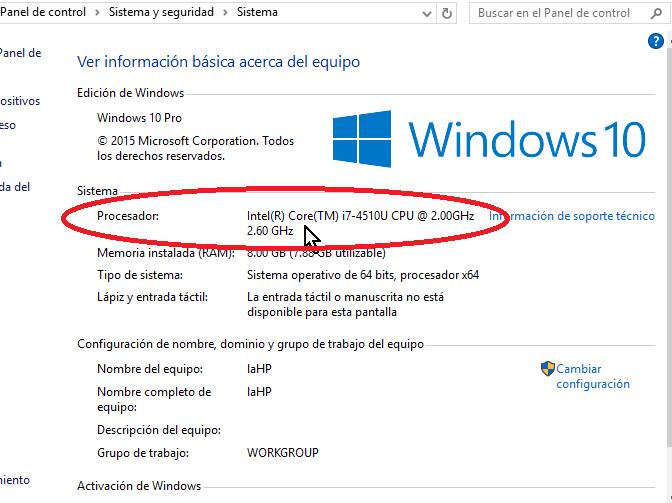 Detalles del procesador en cómo habilitar VirtualBox 64 bits en Windows 10