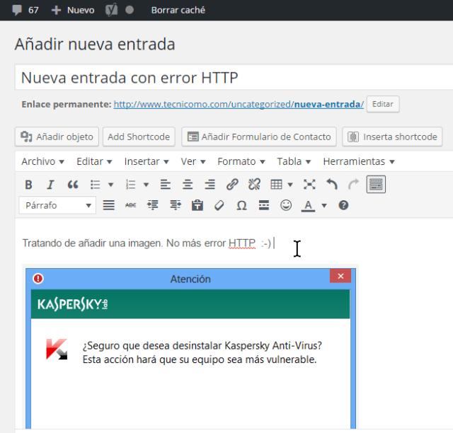 Entrada con la imagen en la posición deseada en cómo resolver el error HTTP al subir imágenes en WordPress