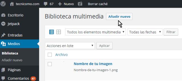 Botón Añadir nuevo en cómo resolver el error HTTP al subir imágenes en WordPress