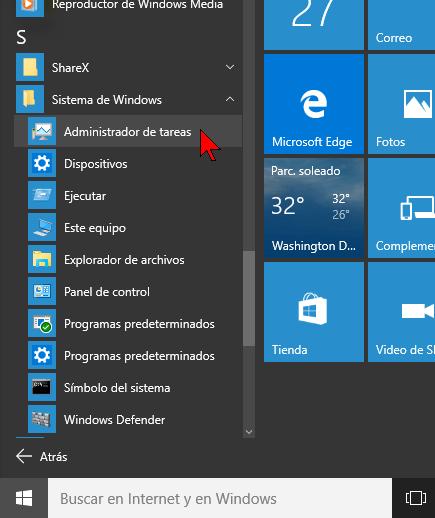 Carpeta Sistema de Windows en cómo acceder al Administrador de tareas en Windows 10