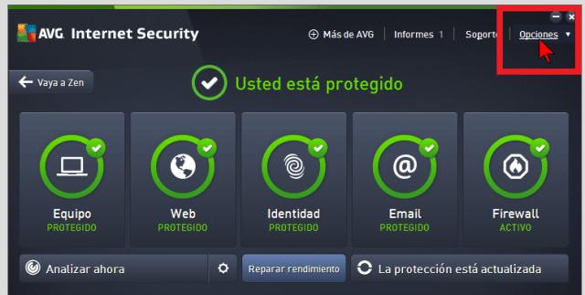 Selecciona Opciones del menú principal en cómo actualizar el AVG Antivirus Protection Pro manualmente
