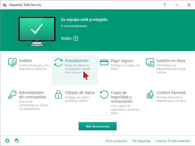 Herramienta Actualización en cómo actualizar el antivirus Kaspersky Total Security multidispositivos 2016 manualmente