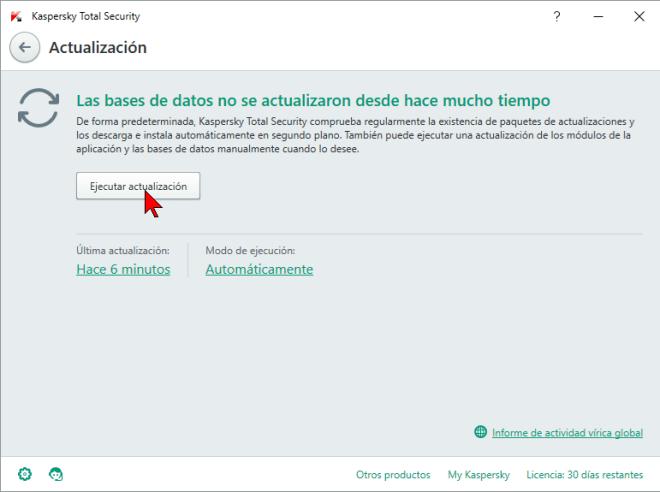 Botón Ejecutar actualización en cómo actualizar el antivirus Kaspersky Total Security multidispositivos 2016 manualmente