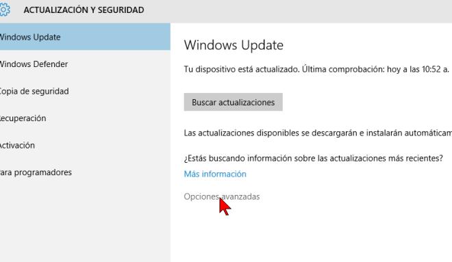 Opciones avanzadas de Windows Update en cómo configurar las actualizaciones automáticas de Windows 10