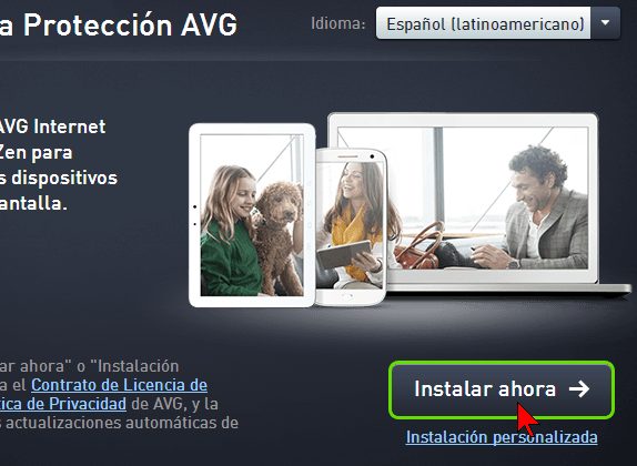 Botón Instalar ahora en cómo descargar e instalar AVG Antivirus Protection Pro