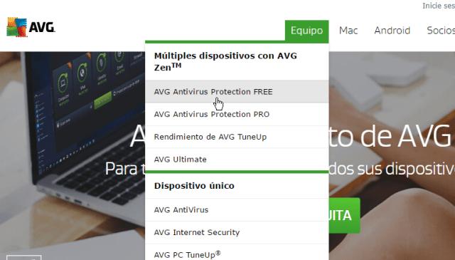 Menú desplegable con el Antivirus gratis en cómo descargar e instalar AVG Antivirus Protection gratis
