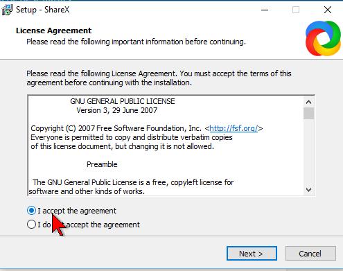 Aceptando la licencia de uso en cómo descargar e instalar ShareX para capturas de pantalla