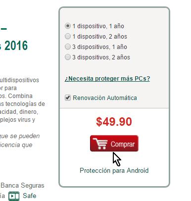 Botón Comprar en cómo descargar e instalar el antivirus Kaspersky Internet Security - Multidispositivos 2016
