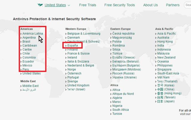 Países de habla hispana resaltados en cómo descargar e instalar el antivirus Kaspersky Internet Security - Multidispositivos 2016
