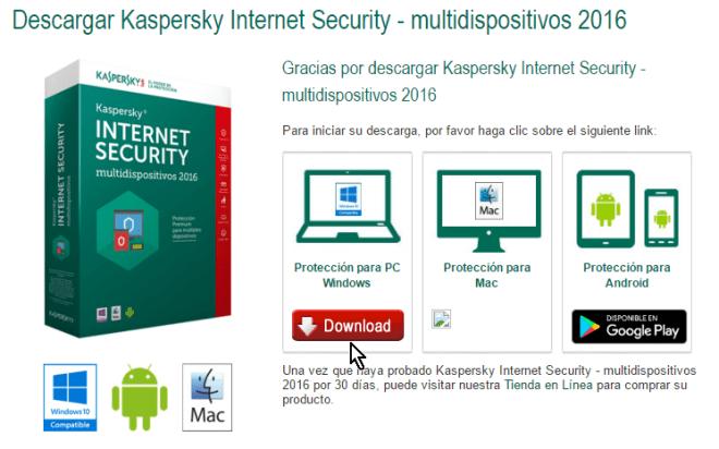 Selección del archivo de descarga según plataforma en cómo descargar e instalar el antivirus Kaspersky Internet Security - Multidispositivos 2016