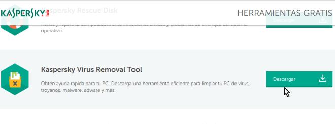 Botón Descargar en cómo descargar y usar Kaspersky Virus Removal Tool