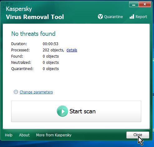 Informe con las vulnerabilidades encontradas y para cerrar la aplicación en cómo descargar y usar Kaspersky Virus Removal Tool