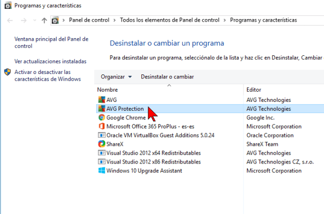 Seleccionando AVG Protection en cómo desinstalar AVG Antivirus Protection Pro