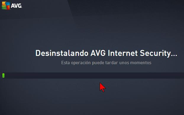 Barra de progreso de la desinstalación en cómo desinstalar AVG Antivirus Protection Pro