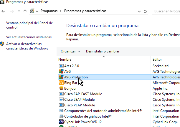 Selecciona AVG Protection de la lista en cómo desinstalar AVG Antivirus Protection en Windows 10