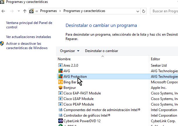 Selecciona AVG Protection de la lista en cómo desinstalar AVG Antivirus Protection en Windows 10