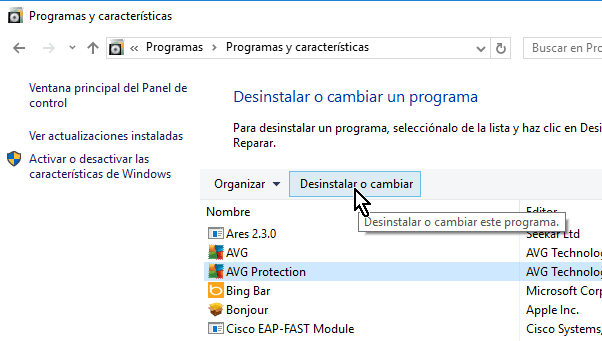 Botón Desinstalar o cambiar en cómo desinstalar AVG Antivirus Protection en Windows 10